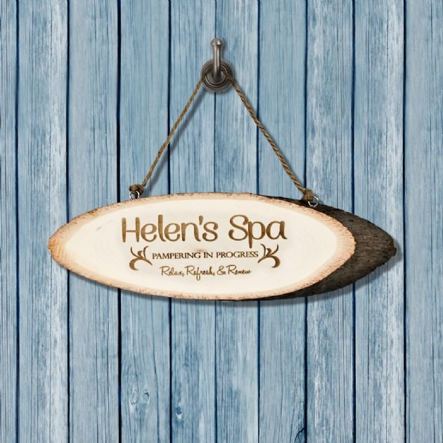 Personalised Relaxing Spa Wooden Sign